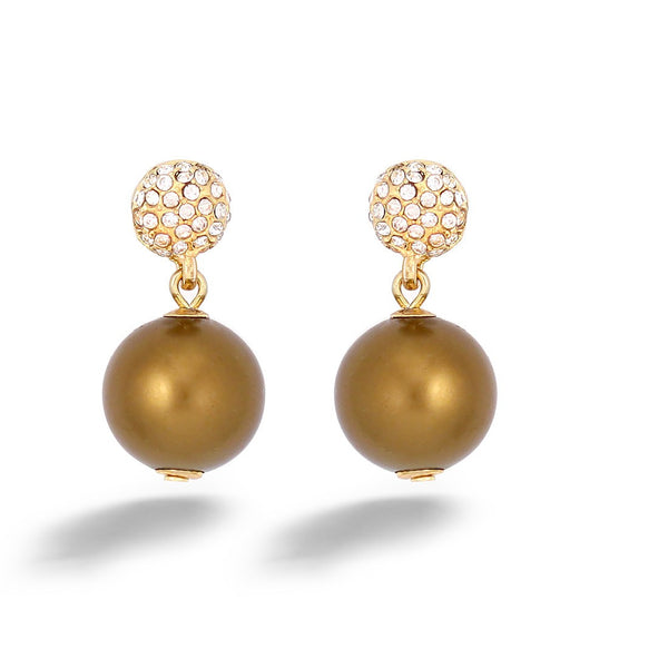 Brown Pearl & White Crystal Gold Earring Gift For Her