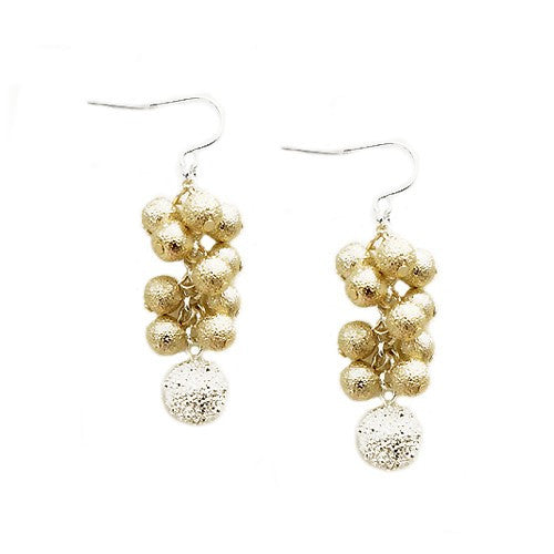 Women's Fashion Matt Texture Gold & Silver Ball Grape Dangle Earrings Gift For Her