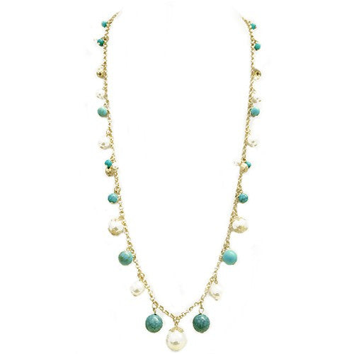 Fashion Turquoise Bead With Glass Pearl Necklace Gold Charm Long Necklace Women's Girl'S Gift For Her