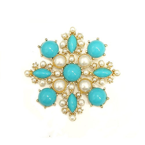 Women's Fashion Turquoise & Pearl Bead Blossom Flower Gold Pin Gift For Her