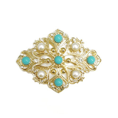 Women's Fashion Diamond Design Turquoise & Pearl Bead W/ Rhinestone Flower Gold Pin Gift For Her