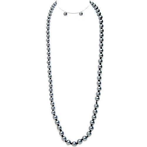 Women's Fashion Gray Glass Pearl Beaded Long Necklace & Earrings Set Gift For Her