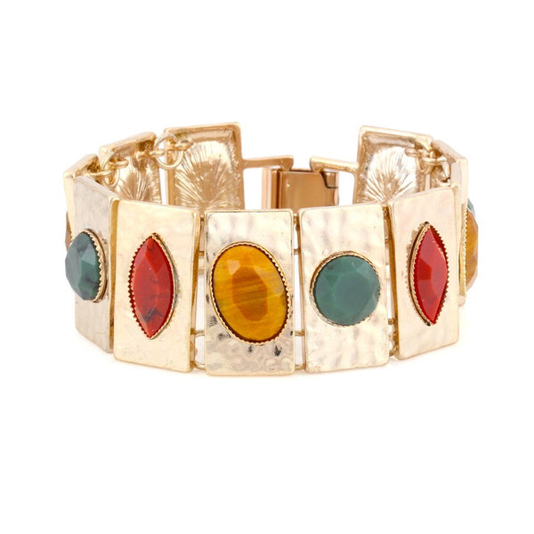 Gold Multi Color Stone Stretch Bracelets Gift For Her