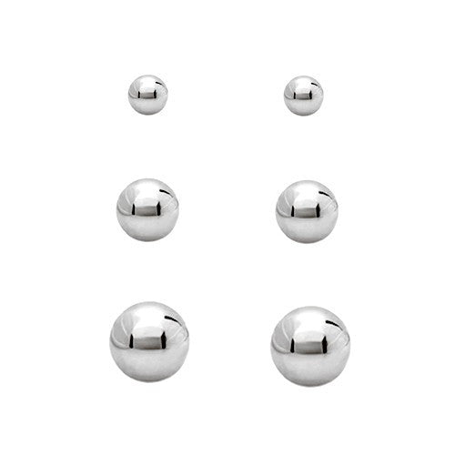 Women's Fashion Shiny Silver Metal Stud Earring, Set Of 3Pcs, 10Mm 7Mm 5Mm Gift For Her