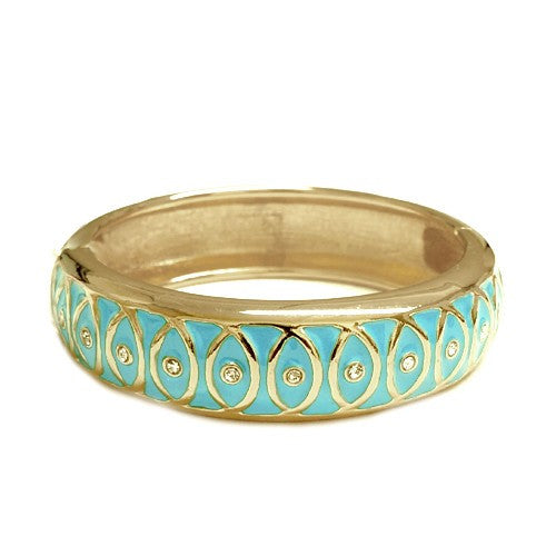Women's Fashion Luxurious Design Turquoise Enamel Gold Hinged Bracelet Gift For Her