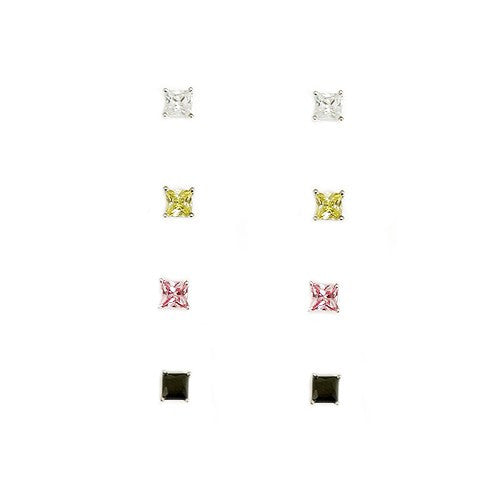 Women's Fashion Clear Lime Pink Black Square Earrings, Set Of 4 Pcs Gift For Her