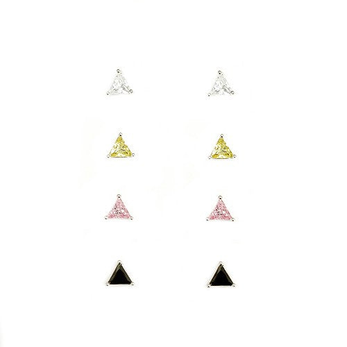 Women's Fashion Clear Lime Pink Black Triangle Earrings, Set Of 4 Pcs Gift For Her