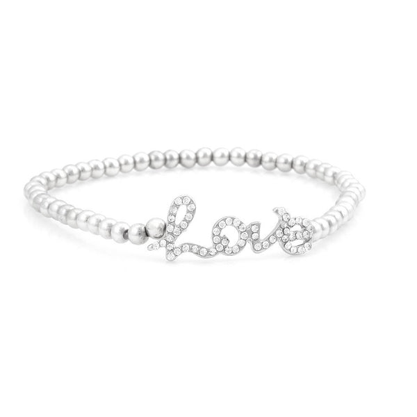 Silver Beads Love Crystal Stretch Bracelets Gift For Her