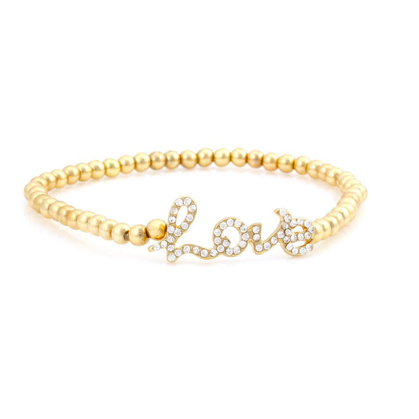 Gold Beads Love Crystal Stretch Bracelets Gift For Her