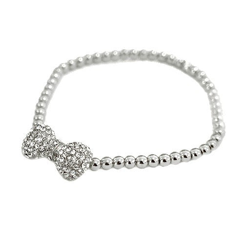 Silver Bow W/ Rhinestone Silver Beaded Stretch Bracelet Gift For Her