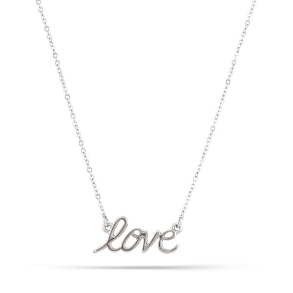 Women's Fashion Rhodium-Tone Love Necklace Gift For Her