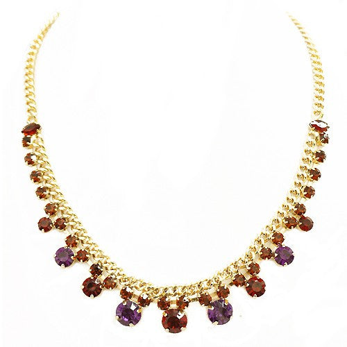 Fashion Red Purple Coral Mixed Glass Crystal Gold Chain Necklace Women's Girl'S Gift For Her