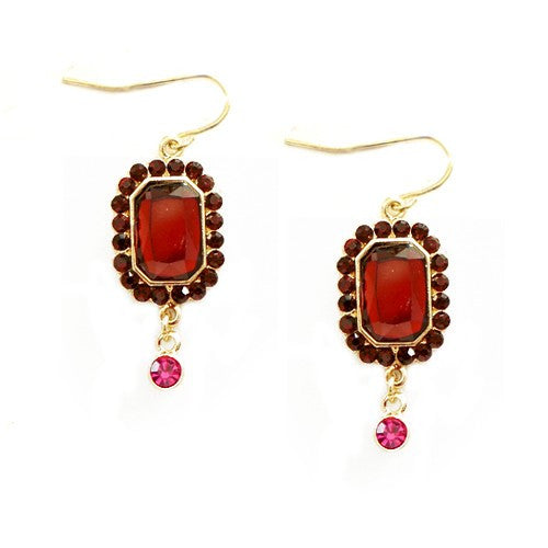 Women's Fashion Gold Multi Color Red & Pink Earrings Gift For Her