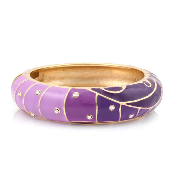 Purple Enamel Hinged Bracelets Gift For Her