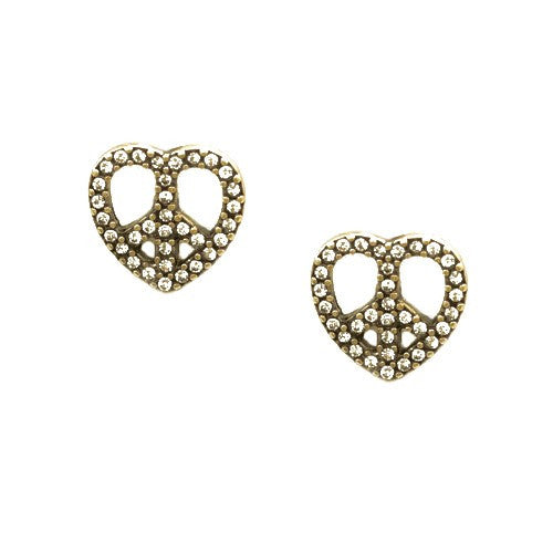 Women's Fashion Clear Rhinestone Heart W/ Peace Sign Gold Stud Earrings Gift For Her