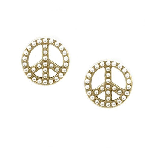 Women's Fashion Glass Pearl Round Shape W/ Peace Sign Gold Stud Earrings Gift For Her