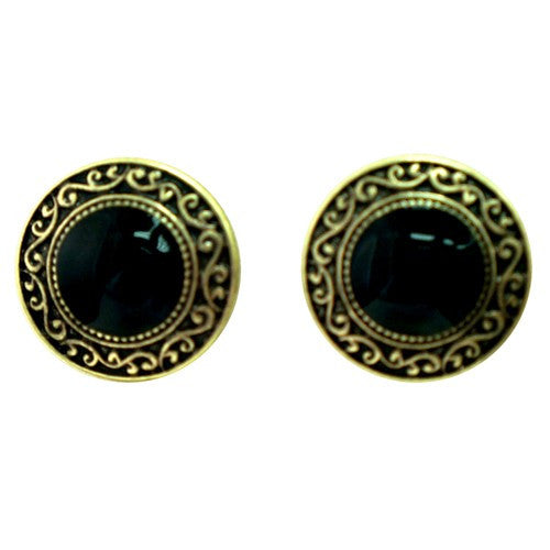 Women's Fashion Black Round Earrings W/ Gold Outline Gift For Her