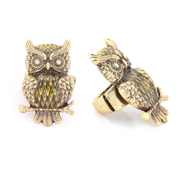 Gold Metal Owl Ring Gift For Her