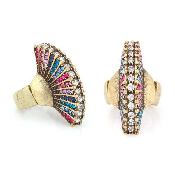Gold Metal Multicolor Crystal Ring Gift For Her