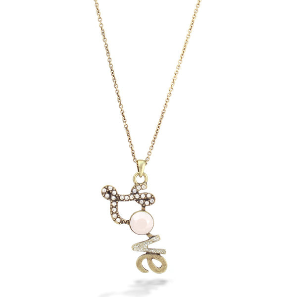 Fashion Gold-Oxide Whte Crystals Love Necklace Women's Girl'S Gift For Her
