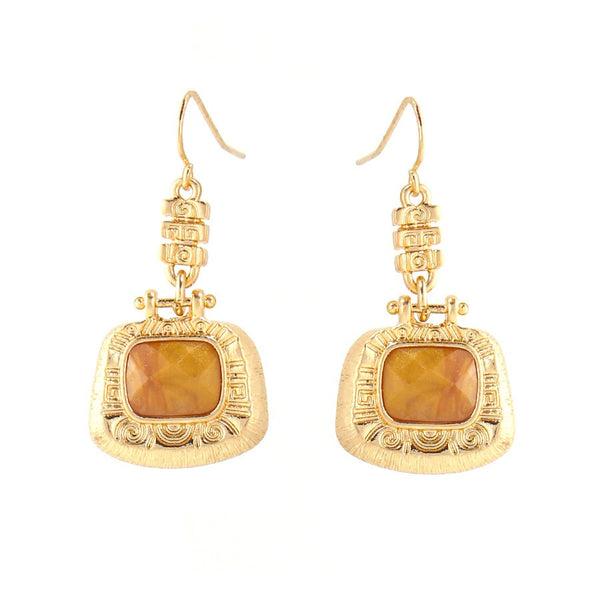 Gold Plated Brown Color Earring Gift For Her