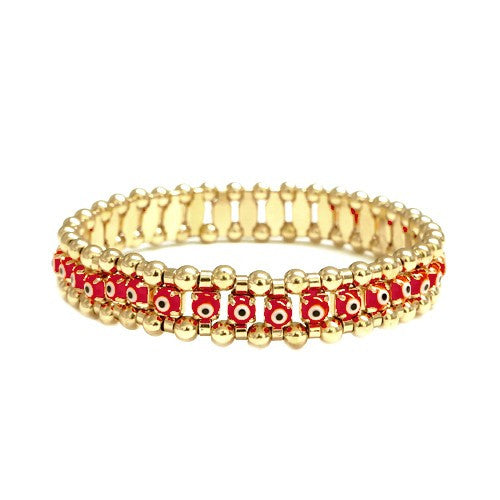 Women's Fashion Evil Eye W/ Gold Stretch Bracelet, 30Mm, Red Gift For Her