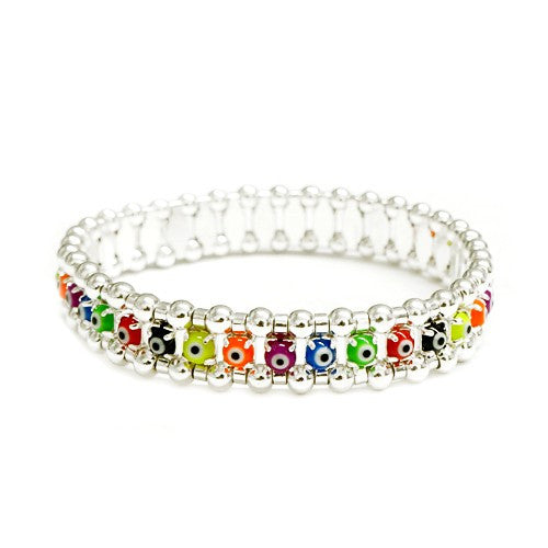 Women's Fashion Multi Color Evil Eye W/ Silver Stretch Bracelet, 30Mm Gift For Her