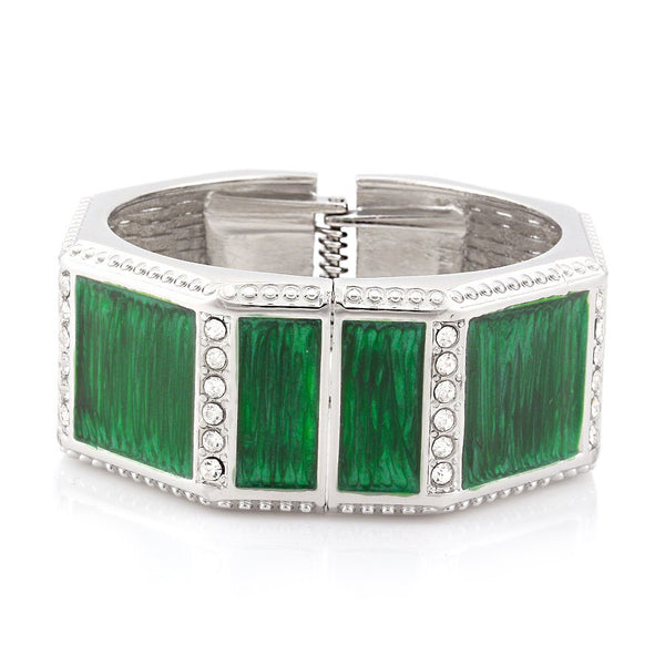 Rhodium Metal Green Hinged Bracelets Gift For Her