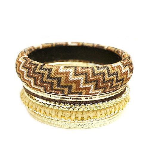 Women's Fashion Brown Mixed Chevron Cotton W/ Gold Bangles, Set Of 7 Pcs Gift For Her