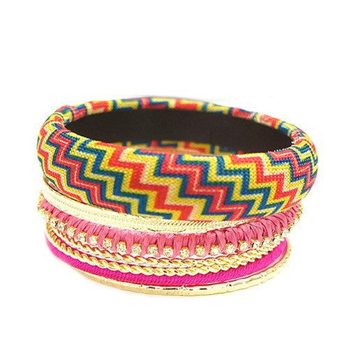 Women's Fashion Rose Mixed Chevron Cotton W/ Gold Bangles, Set Of 7 Pcs Gift For Her
