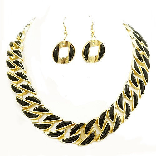 Women's Fashion Chevron Style Black Enamel Gold Necklace & Earrings Set Gift For Her