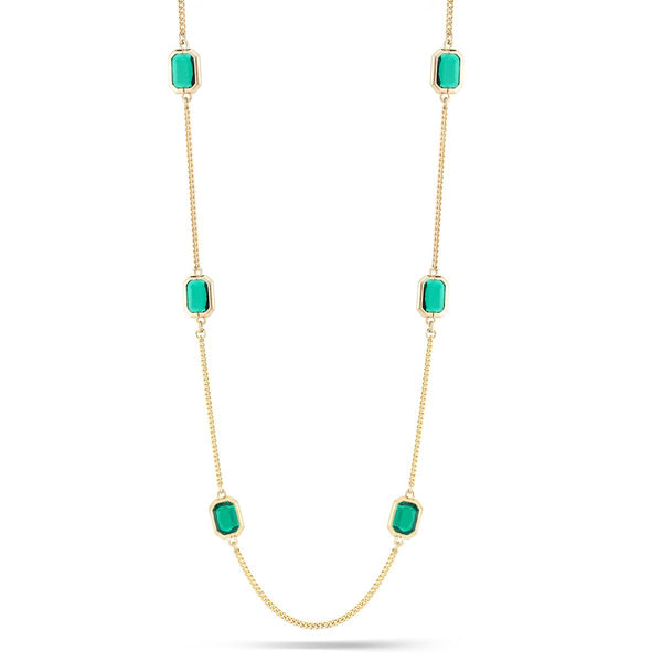 Fashion Gold-Tone Emerald Long Necklace Women's Girl'S Gift For Her