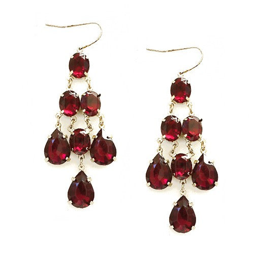 Women's Fashion Teardrop Glass Bead Gold Chandelier Earrings, Red Gift For Her