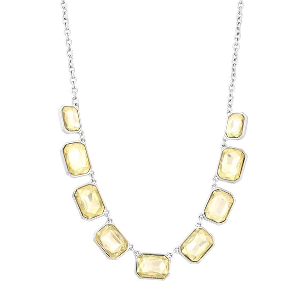 Fashion Silver-Oxide Tone Yellow Crystals Necklace Women's Girl'S Gift For Her