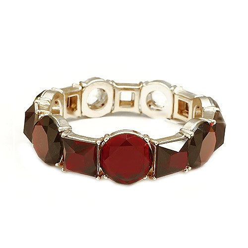 Women's Fashion Round & Square Mixed Glass Crystal Gold Stretch Bracelet, Red Gift For Her