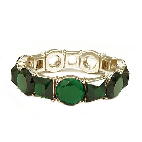 Women's Fashion Round & Square Mixed Glass Crystal Gold Stretch Bracelet, Green Gift For Her