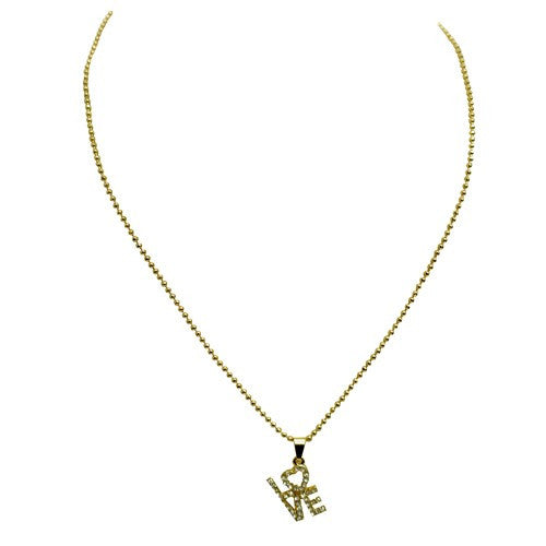 "Fashion Gold & Crystal ""Love"" Square Box Text Necklace Women's Girl'S Gift For Her"