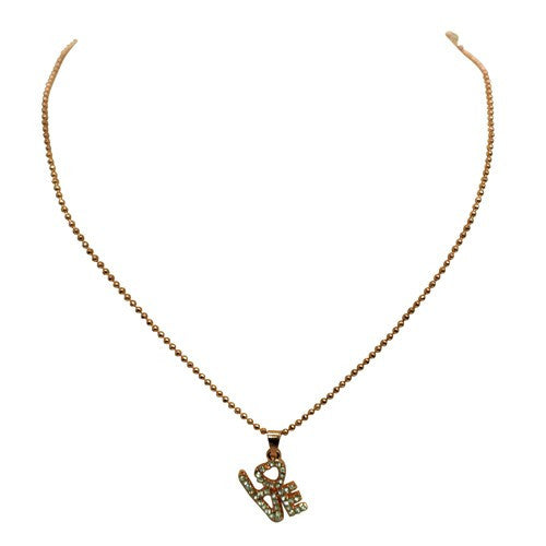 "Fashion Rose Gold & Crystal ""Love"" Square Box Text Necklace Women's Girl'S Gift For Her"