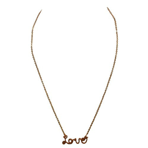"Fashion Rose Gold ""Love"" Necklace In Cursive Women's Girl'S Gift For Her"