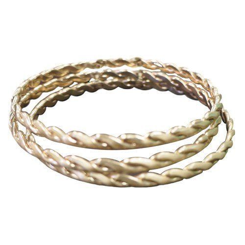 Women's Fashion Gold Twist Bangles, Set Of 3Pcs Gift For Her