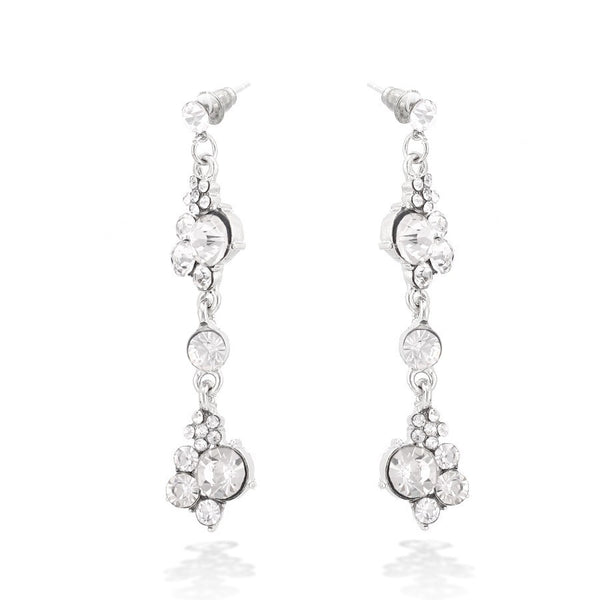 Silver Tone Crystal Earrings Gift For Her