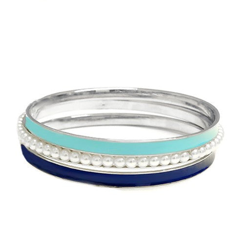 Women's Fashion Turquoise & Blue W/ Pearl Bead Silver Bracelet, Set Of 3Pcs Gift For Her
