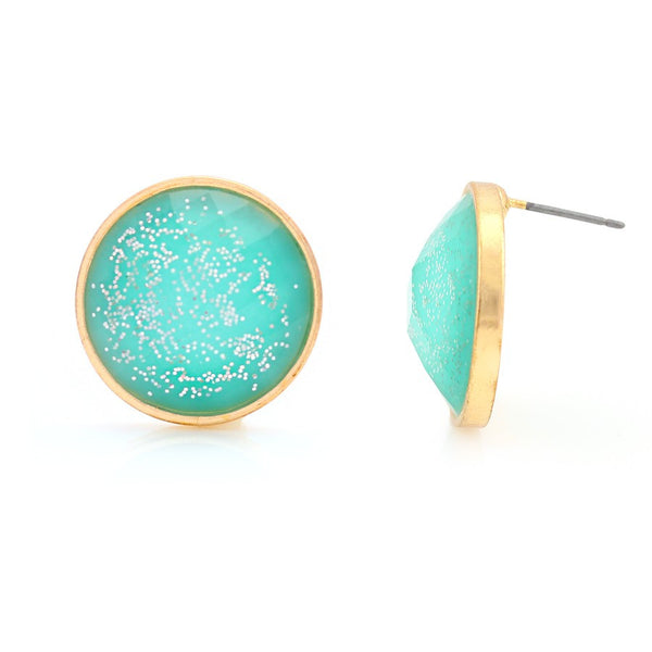 Aqua Blue Glittering Round Acrylic Earrings Gift For Her