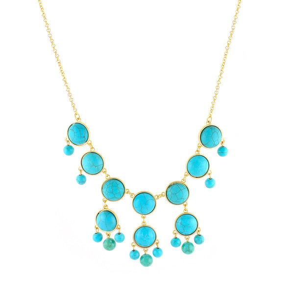 Fashion Gold-Tone Turquoise Necklace Women's Girl'S Gift For Her