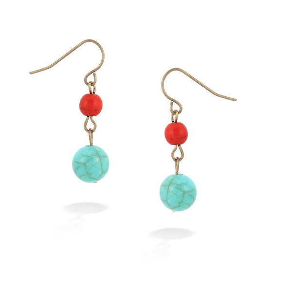 Turquoise & Coral Beads Earrings Gift For Her
