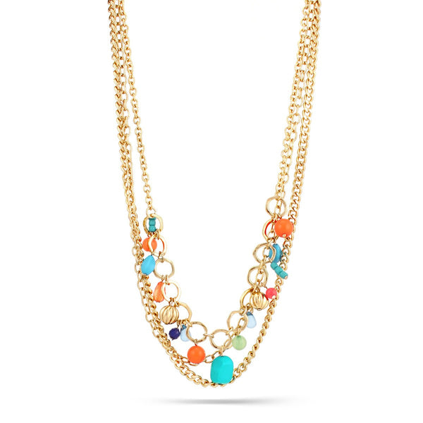 Gold Multi Color Bead 3 Row Necklaces Gift For Her