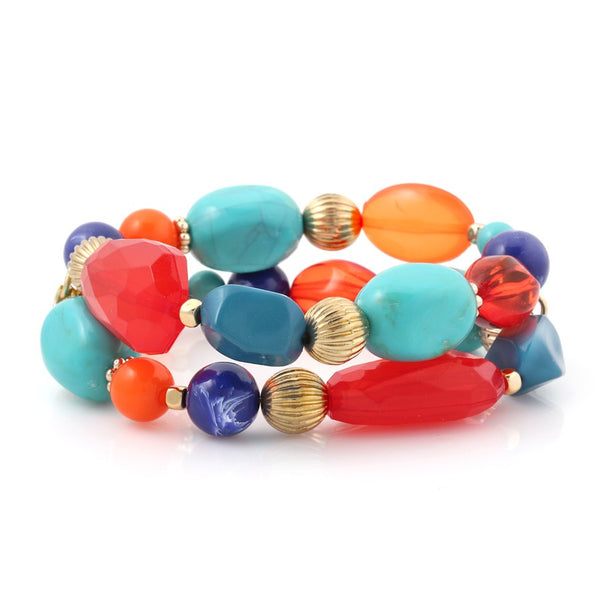 Multi Color Beads Set Of 2 Stretch Bracelets Gift For Her