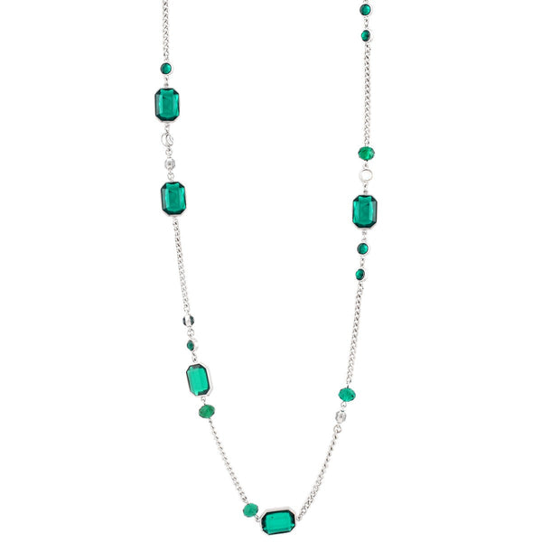 Fashion Rhodium-Tone Green Crystal Necklace Women's Girl'S Gift For Her