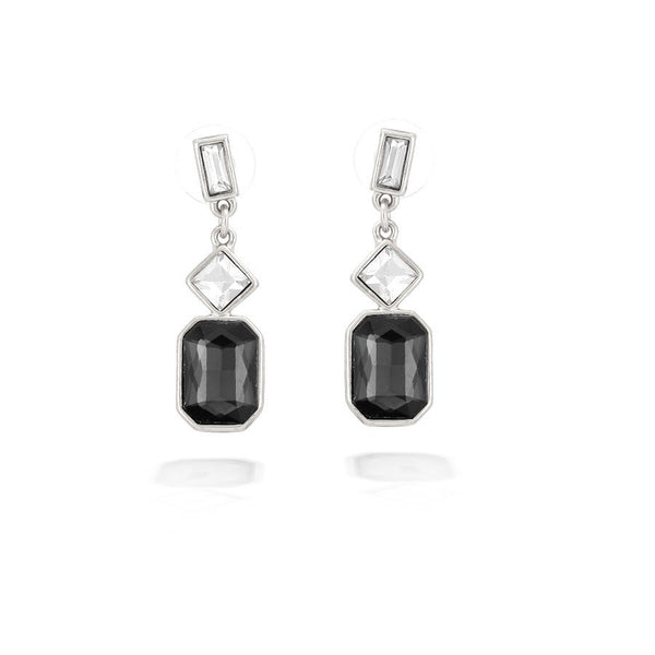 Silver White Crystal & Black Earrings Gift For Her