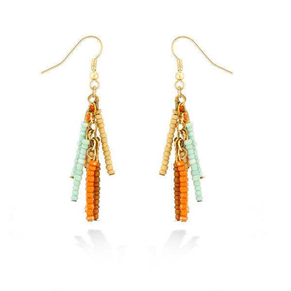 Gold Multi Coral Mint & Brown Beads Earrings Gift For Her